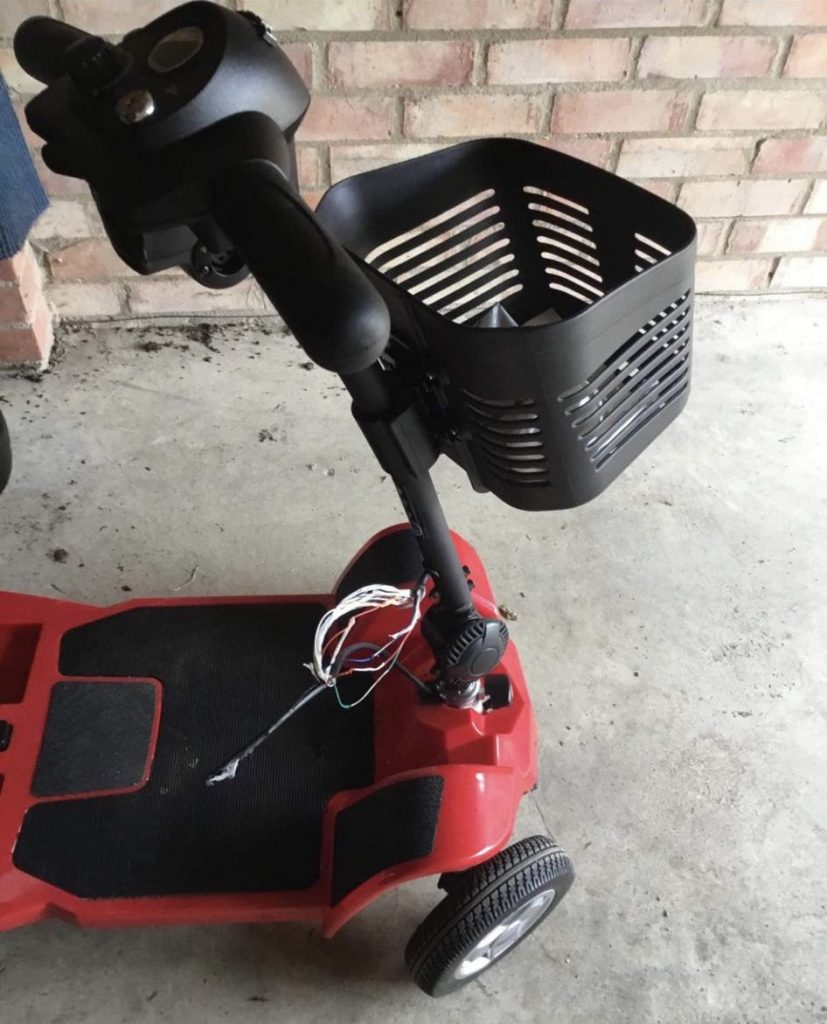 Woman in her 80s left shaken and mobility scooter damaged after a discovering a man in her garage